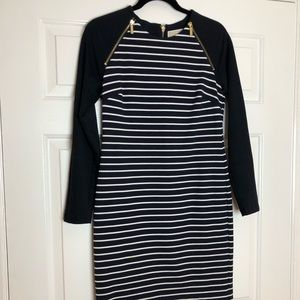 Michael Kors navy and white striped dress